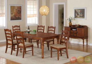 Oxford 8 Piece Dark Oak Dining Room Set Table Chairs w Server