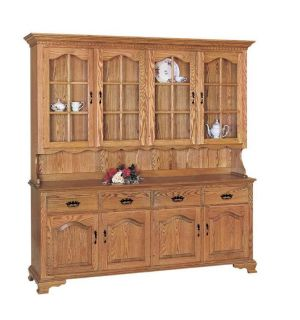 SOLID OAK COUNTRY STYLE DINING ROOM SET HUTCH TABLE AND 6 CHAIRS