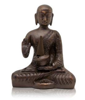 Medicine Buddha Incense Burner for Cones Sticks Brass 5 High