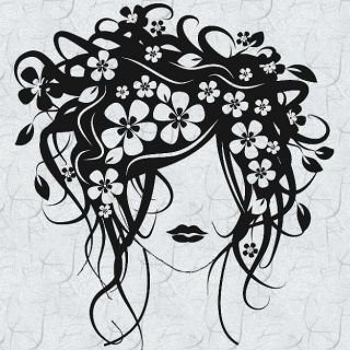 Spring Flowers Hair Dresser Vinyl Wall Graphic Decal