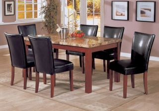 Casual Marble Top Dining Room Table Chair 7 Piece Set