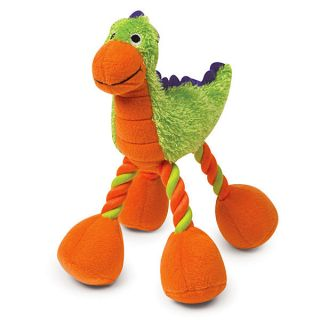 Large Dino Baby Plush Dinosaur Dog Toy with Rope Legs and A Squeaker