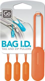 Design Go Travel Bag ID Set Luggage Tags Zip Suitcase Orange Purple