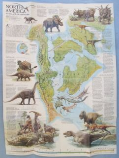 North America Age of Dinosaurs Map 1993 National Geographic Poster