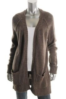 Design History New Brown Ribbed Trim Long Sleeves Cardigan Sweater M