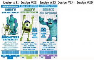 Monsters Inc Inc 2 Movie Birthday Party Ticket Invitations Supplies