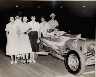 C1950s Photograph Dirt Track Race Car with Trophy