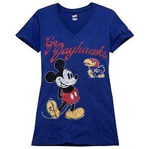 New Disney Mickey Kansas Jayhawks Womens Shirt s M L XL