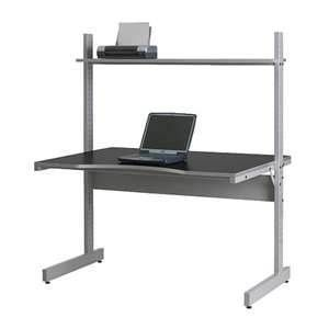 adjustable ergonomic black finish laptop desk table stand on wheels. Black Bedroom Furniture Sets. Home Design Ideas