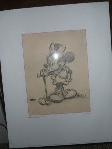 clear unique FRAMED Disney MICKEY & MINNIE GOLF PRINTS 20 x 16