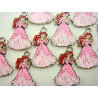 10 x Disney Princess Ariel Pink Jewelry Making Metal Figures Pendant