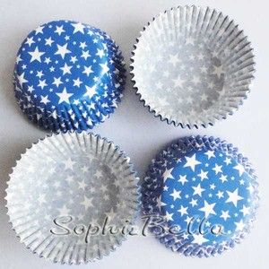 75 blue stars birthday party paper baking cups muffin cases cupcake