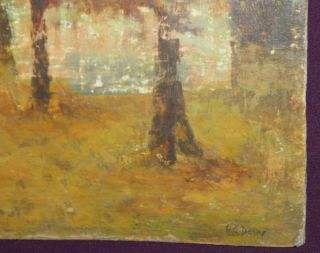 Antique French Oil Painting Landscape Signed H C Delpy