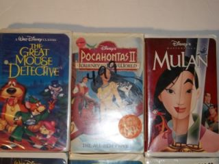 Lot 6 Walt Disney Kids Childrens Movies VHS Clamshell Cases Mulan