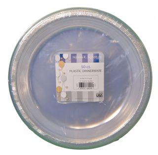 50ct Plastic Clear 9 Plates Wedding Party Dinnerware