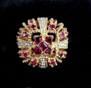 New FRANKLIN MINT DEVLIN CROWN JEWELS 14K GOLD RING 8 DIAMONDS 29