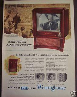 1952 Westinghouse TV Set Television Vintage Print Ad