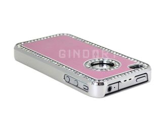 Luxury Bling Diamond Aluminium Case Cover For iPhone 4 4S 4G Pink