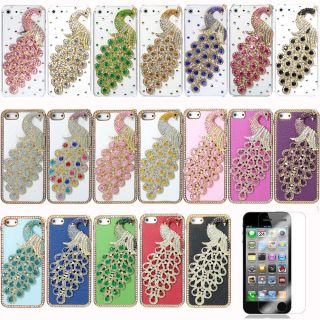 Bling 3D Peacock Diamond Crystal Case Cover for iPhone 5 5G + Screen