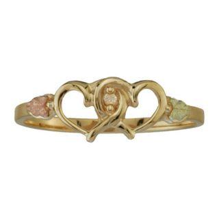 10K Black Hills Gold Womens Diamond Heart Ring