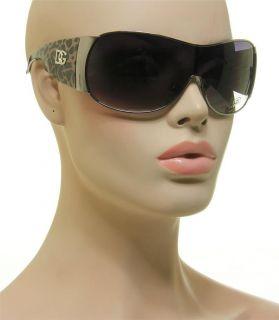 DG Oversized Fashion Shield Dark Leopard Print Gun Metal Sunglasses