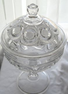 EAPG Diamond Point Discs Covered Compote Higbee