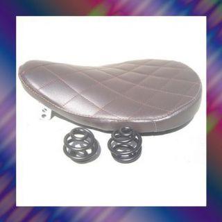 SPORTSTER SOLO SEAT DARK BROWN DIAMOND LEATHER 9 2 FLAT BLACK SPRINGS