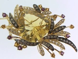 LeVian Citrine and Diamond 14k Yellow Gold Necklace Pendant