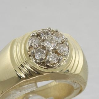 Fine Estate Mens 14k Gold Diamond Cluster Ring Jewelry