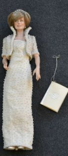 Franklin Mint Princess Diana Porcelain Doll White Beaded