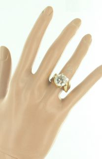 BIG 18K GOLD ELECTROPLATE FAUX ROUND DIAMOND CRYSTAL RHINESTONE RING