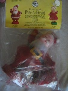 Vintage Walco Pin Bead Ornament Kit Christmas Mr Santa Claus Leewards