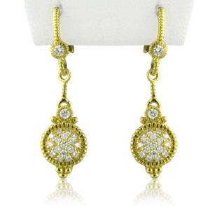 Judith Ripka 18K Gold Diamond Drop Earrings