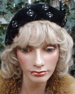 Vintage 30s Black Velvet Art Deco Hat by Lady Dianne