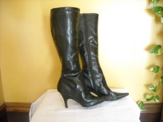 Diba Black Boots Pointy Toes Size 7 5 High Heeled boot Knee High 3 5