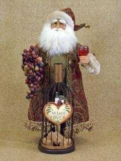 Karen Didion Wine Bottle Cork Collector Christmas Santa Figurine New