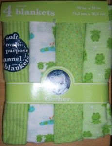 New Gerber Flannel Receiving Blankets, Baby Shower, Diaper Cakes