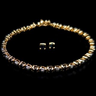 Uncommon Natural Deep Blue Sapphire 925 Silver Bracelet Earrings