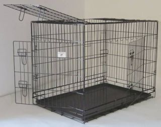 XX Extra Large 55 Folding Dog Crate Metal Cage Kennel 3 Doors Black