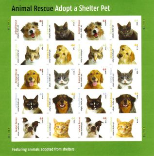 Animal Rescue Adopt Shelter Pet Scott # 4451 44 MNH Sheet of 20 US