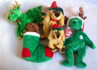 NWT Lot 5 TY Christmas Beanie Beanies Babies Bears Dogs