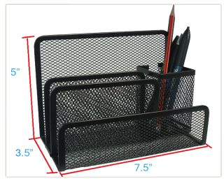 Black Mesh Desk Organizer Pen Holder Desktop, 7.5 x 5 x 3.5