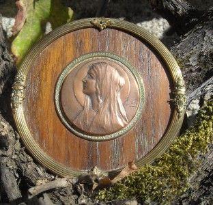 Antique French Art Nouveau Engraved & Signed Religious Copper Madonna