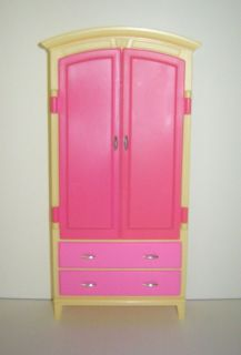 Mattel Inc 2002 Barbie Doll Dollhouse Closet Wardrobe Cabinet Bedroom