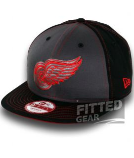 Detroit Red Wings Snapinpop Black Red NHL New Era 9Fifty Snapback Hats