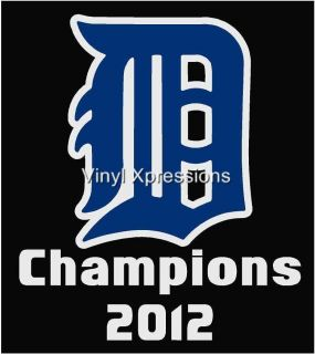 Detroit Tigers Champions Decal Truck Window Vinyl Sticker or Wall Art