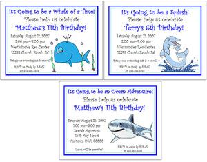 Whales Sharks Dolphins Kids Birthday Party Personalized Invitations