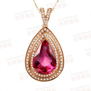 Pink Tourmaline Diamond 18K Rose Gold Pave Pendant for Neckalce