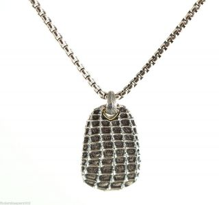 David Yurman Large Silver Sea Horse Dog Tag Chain Necklace 26 $695