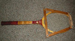 VINTAGE DON BUDGE WOODEN TENNIS RACKET 1940 1950S WITH FRAME VERY COOL